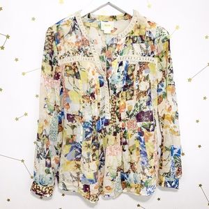 Anthro • Maeve Floral Print Patchwork Blouse 2